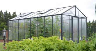 Šiltnamis Ventus 2,36 / 5,60 m2 / 4mm saugiu grūdintu stiklu ir su aliuminio pagrindu